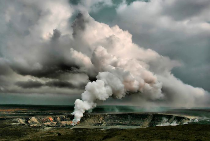 Also known as fumaroles, openings in the planet's crust such as this one emit steam containing a mixture of noxious gases. They are also home to extremeophilic microbes that can tolerate both high heat and acid. Credit: Wikipedia