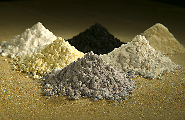 Rare earth elements, highly coveted in the technology industry, are difficult to mine because of their low concentrations in most rocks. Clockwise from top center: praseodymium, cerium, lanthanum, neodymium, samarium, and gadolinium. Credit: Wikipedia
