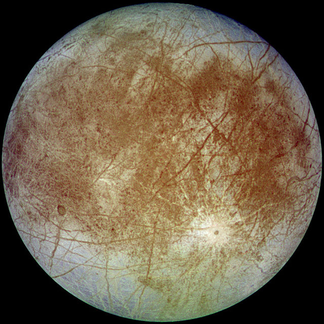 Europa, Jupiter's icy moon, has excited astrobiologists as a potential site for extraterrestrial life in our solar system. Credit: Wikimedia Commons