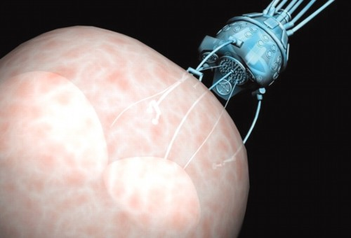 Artist's depiction of a nanobot performing cell surgery. Credit: